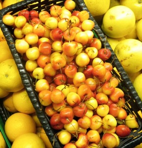 Rainier Cherries are yellow with a blush of bright red.