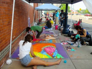 During Art Walk Central community members are invited to decorate downtown with their own works of art.